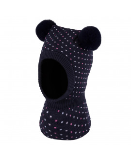 Hood for girl with two pompoms,3-005220