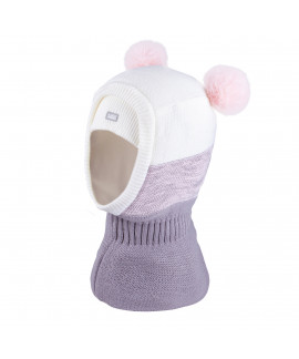 Hood for girl with two pompoms,3-005223