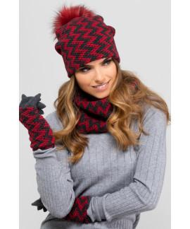 Beau chapeau d'hiver avec pompon en vrai fourrure pour femmes, Madisson_PN